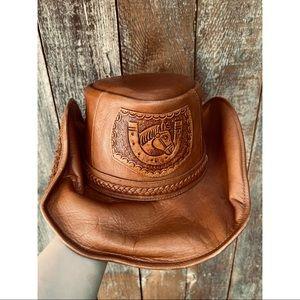 VINTAGE leather horse braided western cowboy hat